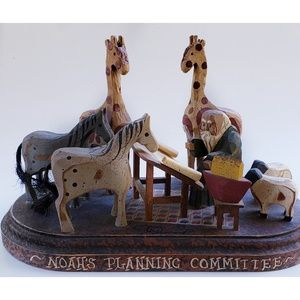 Vintage 90's Noah's Ark & Animals Wood Carving